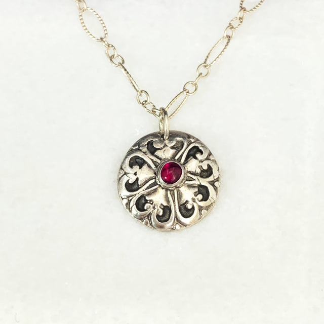 SOLD - Ornate Blossom Ruby Necklace