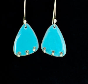 Wings & Silver Balls Enameled Earrings
