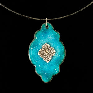 Mehadi Frame Blue Enamel Pendant Necklace