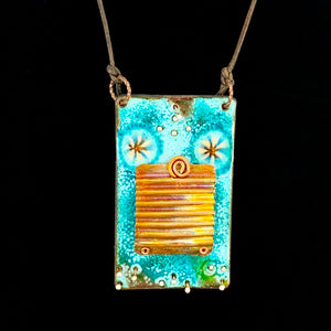 Tablet Kaleidoscope Enameled Pendant Necklace