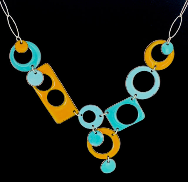 Geo Union in Three Colors Enameled Necklace