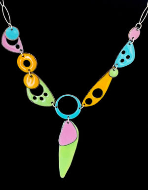 Geo Union in Four Colors Enameled Necklace