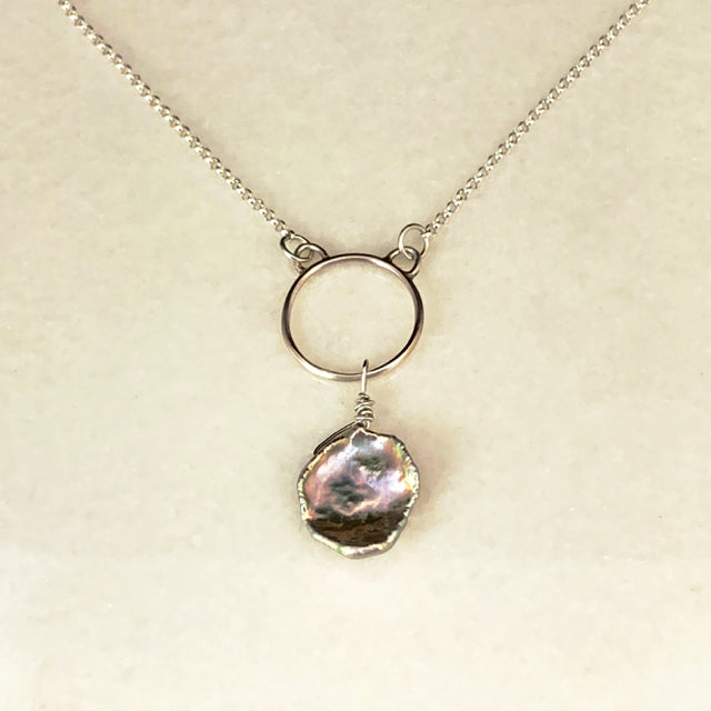 Pearl Drop Circle Necklace