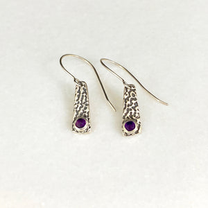 Fine Bark Pattern Earrings with Amethyst