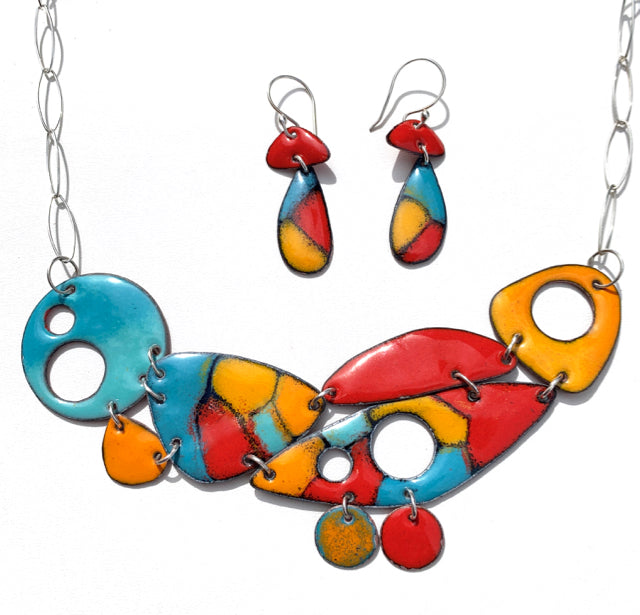 Geo Fusion Enameled Necklace & Earrings - Picasso