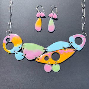 Geo Fusion Enameled Necklace & Earrings - Rainbow Sherbet