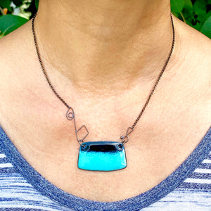 Euclidean Enameled Necklace - Rounded Rectangle