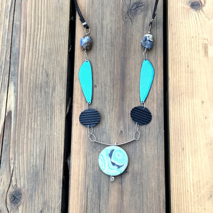 Serendipity 5 - Chalcedony & Amazonite Enameled Talisman Necklace