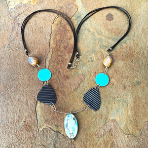 Serendipity 3 - Chalcedony & Amazonite Enameled Talisman Necklace