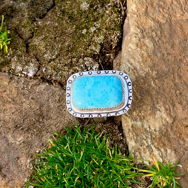 Ocean Rectangle Larimar Ring