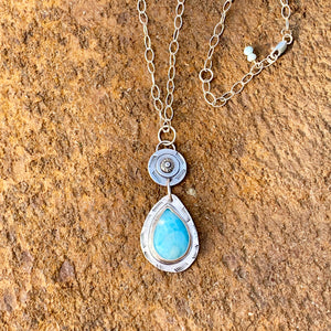 Ocean Teardrop Larimar Pendant Necklace