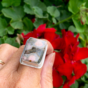 Pink Jasper Rectangle Ring