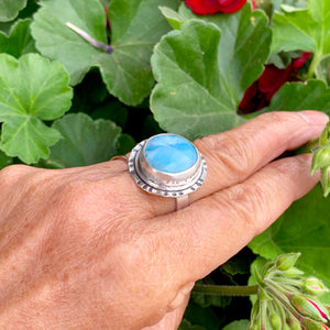 Round Moon Larimar Ring