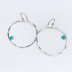 Textured Large Hoops with Gemstone Earrings