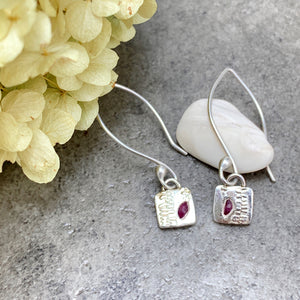 Fern Pattern & Ruby Earrings