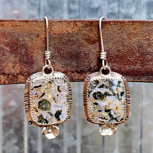 Crazy Lace Agate Square Earrings with Green Striations