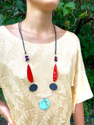 Serendipity 2 - Lapis & Amazonite Enameled Talisman Necklace