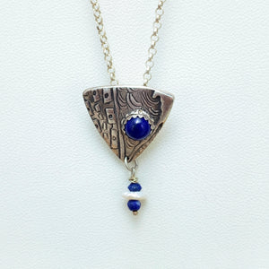Shield Patterned Pendant Necklace with Lapis Lazuli & Pearl