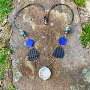 Serendipity 7 - Banded Agate Enameled Talisman Necklace