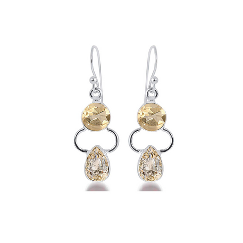 925 Sterling Silver Gemstones Drop Earrings - Yellow Chimes