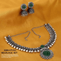 Antique Oxidised Silver Kolhapuri Choker Necklace Set - Yellow Chimes