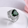 Cocktail Style Platinum Plated Emerald Crystal Ring - Yellow Chimes