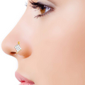 AD Crystal Gold Plated Non Piercing Combo Nose Pins - Yellow Chimes