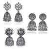 Traditional Combo oxidised Silver Jhumka Earrings