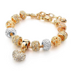 Valentine Love Heart Crystal Charm Bracelet - Yellow Chimes