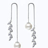 Silver Toned Pearl Dangling Sui Dhaga threaded Earrings - Yellow Chimes