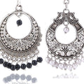 Traditional Silver oxidised Chandbali Earrings Combo - Yellow Chimes