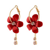 Flower Designer Gold Toned Party Wear Dangle Earrings - Yellow Chimes