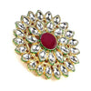 Traditional Gold Toned Kundan Studded Cocktail Ring - Yellow Chimes