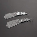 Oxidised Silver Traditional Tassels Dangler Earrings - Yellow Chimes