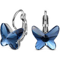 Butterfly Designer Swarovski Crystal Stud Hoop Earrings - Yellow Chimes
