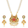 Gold Toned Moti Kundan Necklace Set - Yellow Chimes