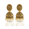 oxidised Matte Gold Lakshmi Temple Jhumka Earrings - Yellow Chimes