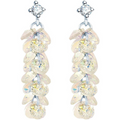 Silver Toned Swarovski Crystal Bunch Dangler Earrings - Yellow Chimes