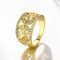 Flower Designer Gold Toned Crystal Band Ring - Yellow Chimes