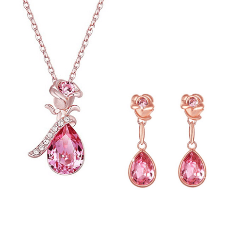 Rose Gold Toned Swarovski Crystals Rose pendant Set - Yellow Chimes