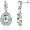 Elegant Silver Toned Swiss Zircon Crystal Drop Earrings - Yellow Chimes
