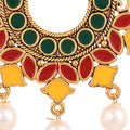 Meenakari Design Gold Toned Chandbali Earrings Combo - Yellow Chimes