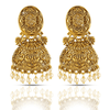 Artistic Crafted Gold Toned Temple Jhumka Earrings - Yellow Chimes
