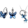 Swarovski Crystal Montana Blue Butterfly Pendant Set - Yellow Chimes