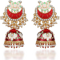 Meenakari Handcrafted Gold Toned Lotus Jhumka Earrings - Yellow Chimes