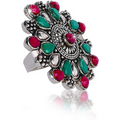 oxidised Silver Floral Charm Ruby Stones Ring - Yellow Chimes