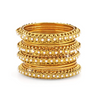Antique Designer Gold Toned Studded Pearl Bangles Set - Yellow Chimes