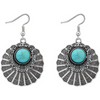 Silver Toned Bohemian Turquoise Stone Drop Earrings - Yellow Chimes