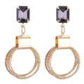 Gold Toned Designer Crystal Circle Dangle Earrings - Yellow Chimes