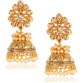 Bandhani Work Gold Toned Kundan Pearl Jhumka Earrings - Yellow Chimes